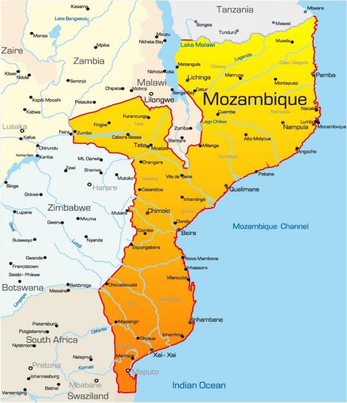 Karta Na Mozambik Ot Razstoyanie Na Kartata Mozambik Kartata S